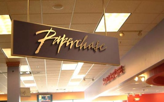 Paperchase Interior hanging logo sign. Custom metal cut dimensional logo sign
