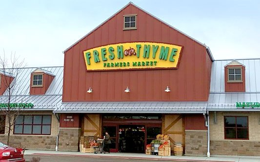 Fresh Thyme Farmers Market Exterior Entrance Sign Dimensional Letters on a backer