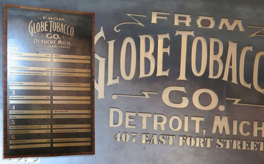 Globe Tobacco Co. Directional Sign with floor office panels