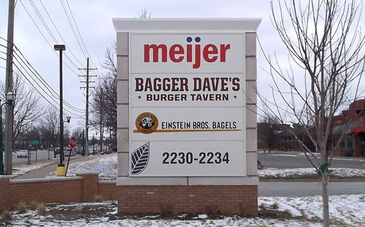 "Meijer Shopping Mall Monument sign ""Meijer"" ""bagger Daves"" ""eistein Bro Bagels"" ""2230-2234"" Address numbers"