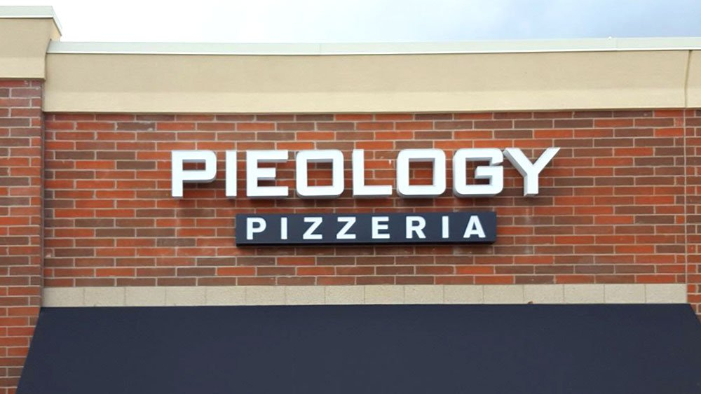 Pieology Pizzeria Custom Channel Letters Logo and capsule