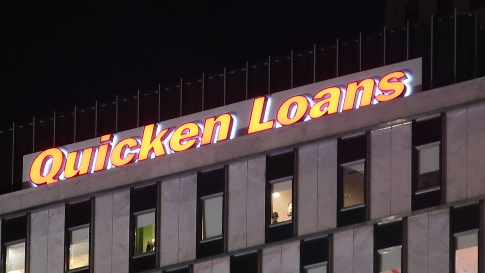 Quicken Loans Illuminating Building Rooftop Channel letters Front and Halo Lit