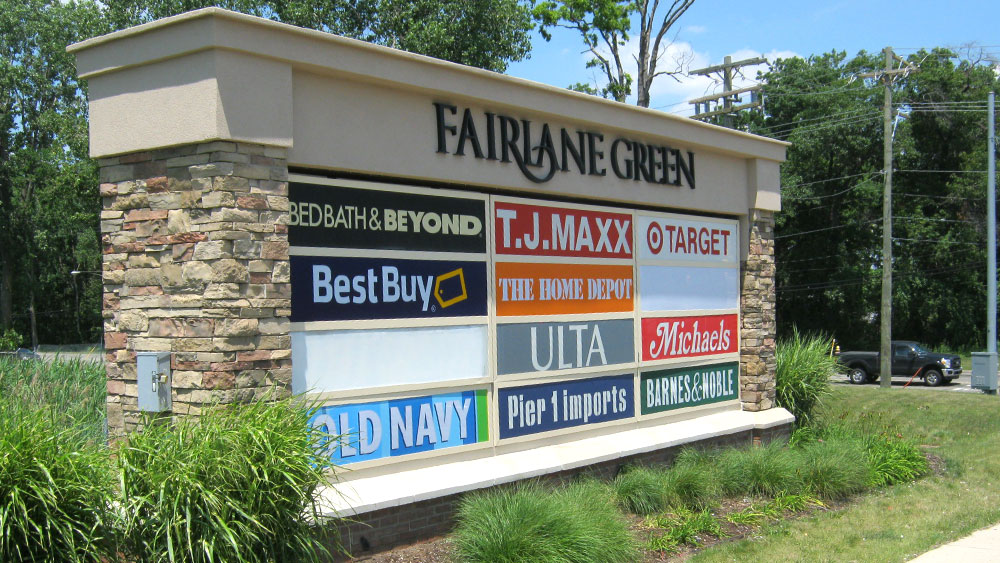 Fairlane Green Shopping Center Changable Tenant Panels Monument sign