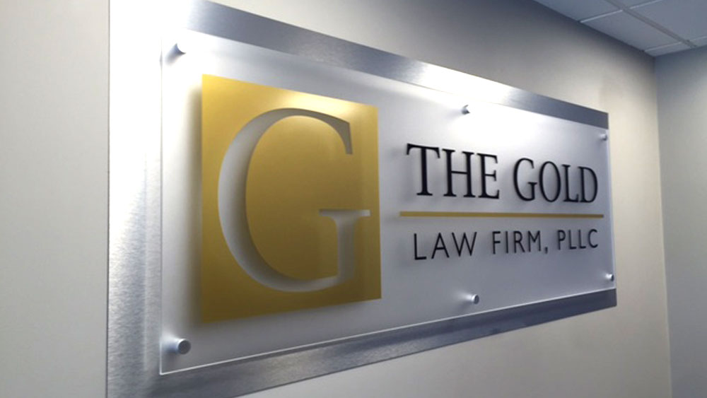 The Gold Law Firm, PPLC Interior lobby wall  logo Sign on Stand offs
