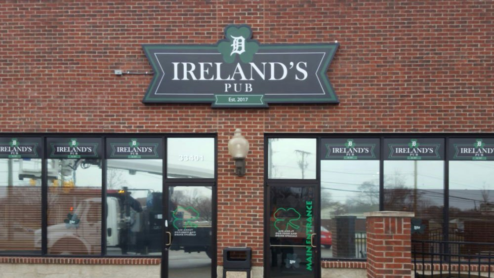 Ireland's Pub Custom Exterior sign wall mounted box logo retail storefront signage