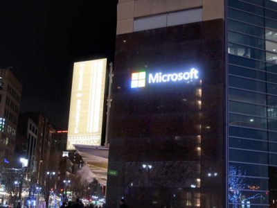 Microsoft Front Lit Channel Letters in Downtown Detroit