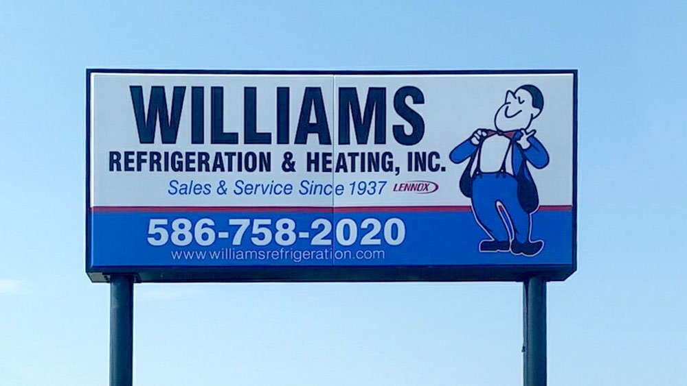 Williams Refrigeration & Heating Inc. Double Pole Pylon Sign