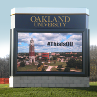 Oakland University Monument Sign with Digital LED Full Color EMC