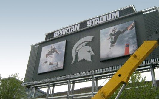Michigan State Stadium Sign with Digital EMC Sign