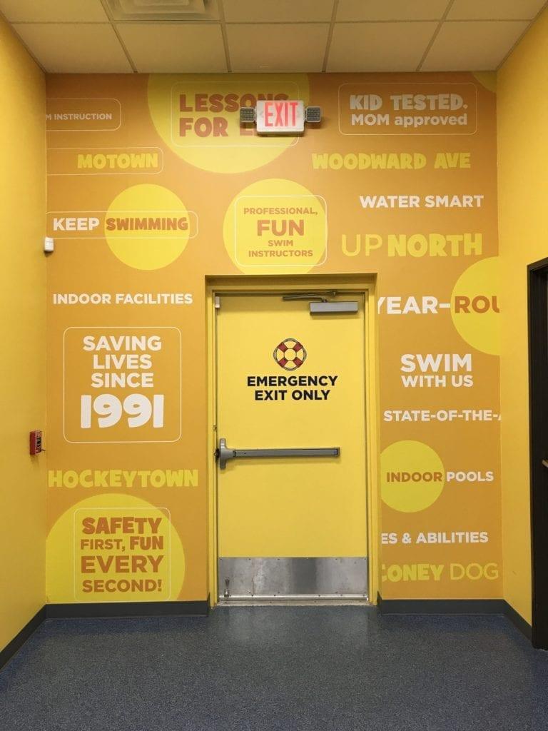 Aqua tots exit wall digitally printed vinyl graphics