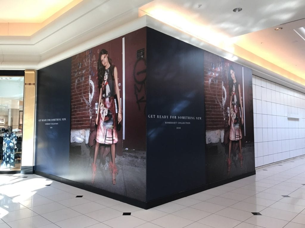 Somerset Collection Mall storefront temporary cover graphics