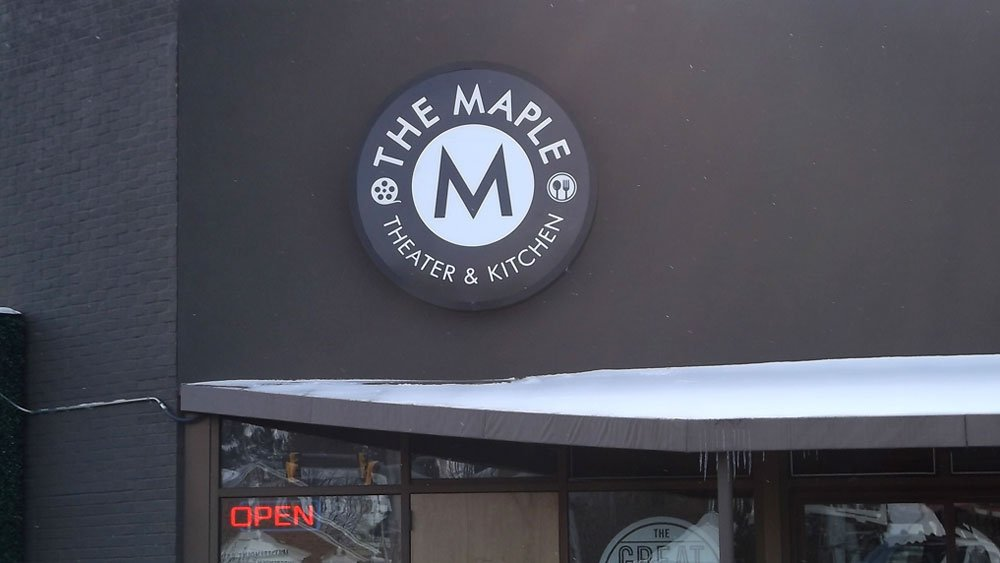 The Maple Theater and Kitchen custom logo circle box sign wall sign retail exterior signage
