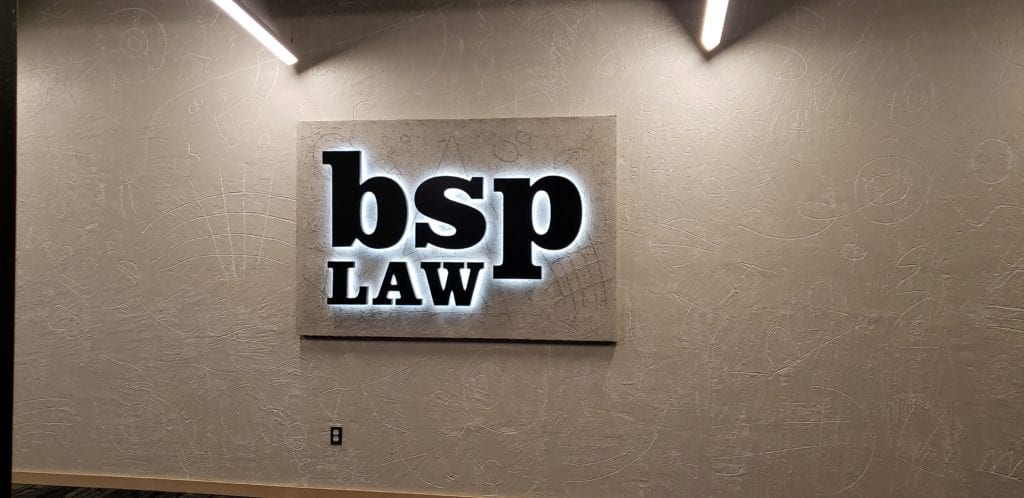 BSP LAW Interior Halo Lit  Lobby Sign