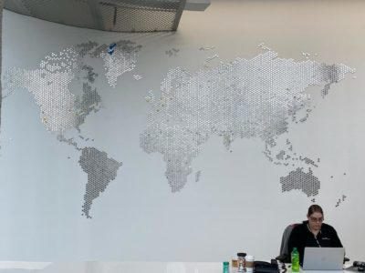 Stryker interior world map reception dimensional wall graphics
