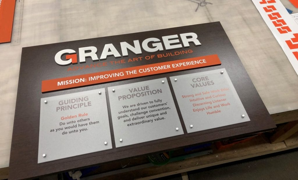 Granger interior lobby sign company mission statement and core values
