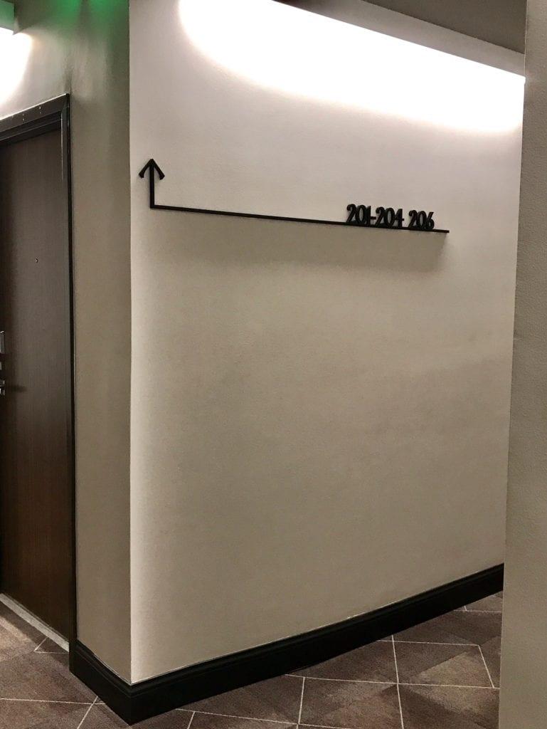 "Custom Interior Wayfinding Signage ARROW  FLOOR DIRECTIONAL ""201-204""""206"""