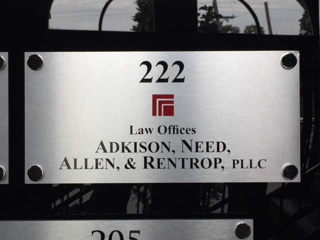 Adkison Law Offices Suit small logo interior wall sign on stand offs