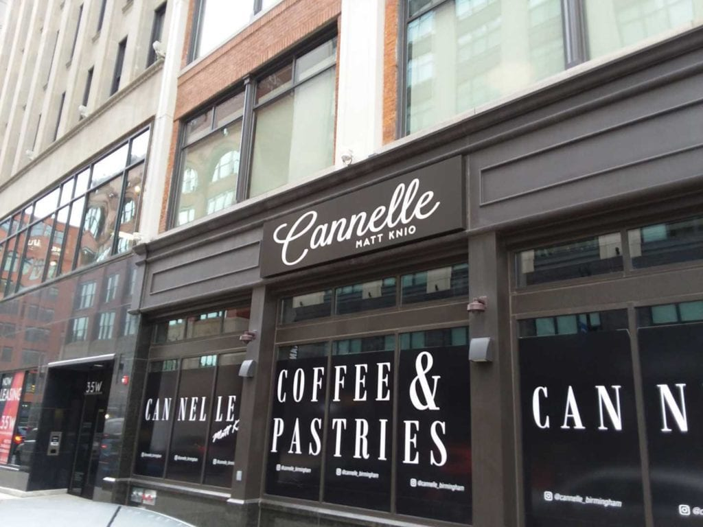 "Cannelle "" Coffee & Pastries""""Cannelle"" Window storefront vinyl graphics"