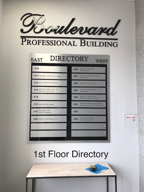 Boulevard Professional Building Directory Sign Aluminum Panels East and West Sections