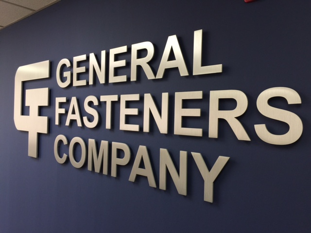 General Fasteners Company interior dimensional steel Aluminum custom cut metal logo