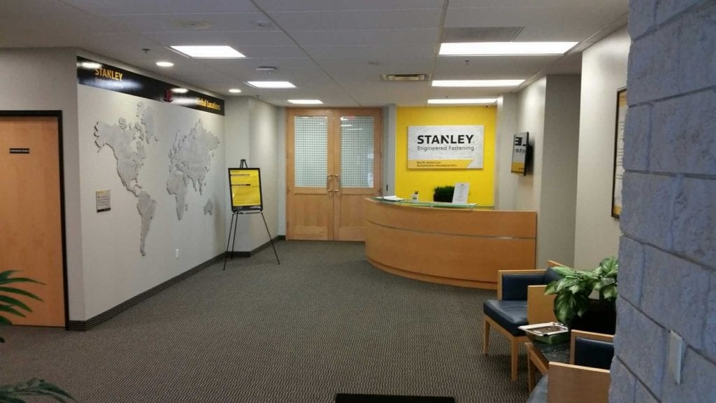 Stanley Interior Office Lobby Wall Sign and Graphics