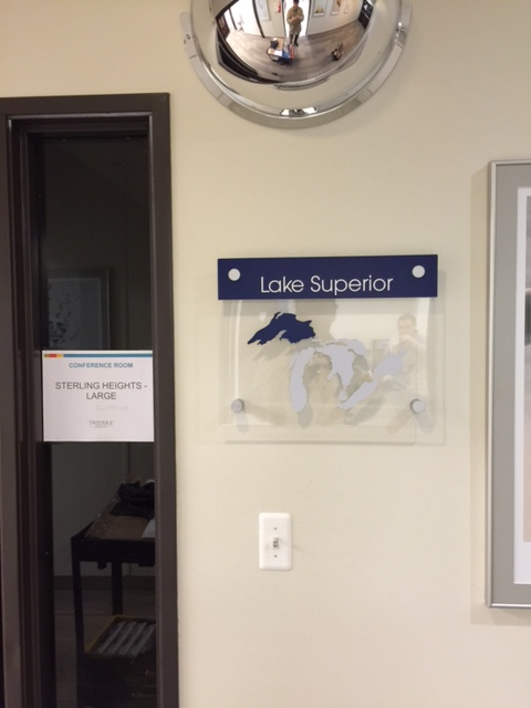 Lake Michigan- Lake Superior Interior Office  Room Sign on stand offs