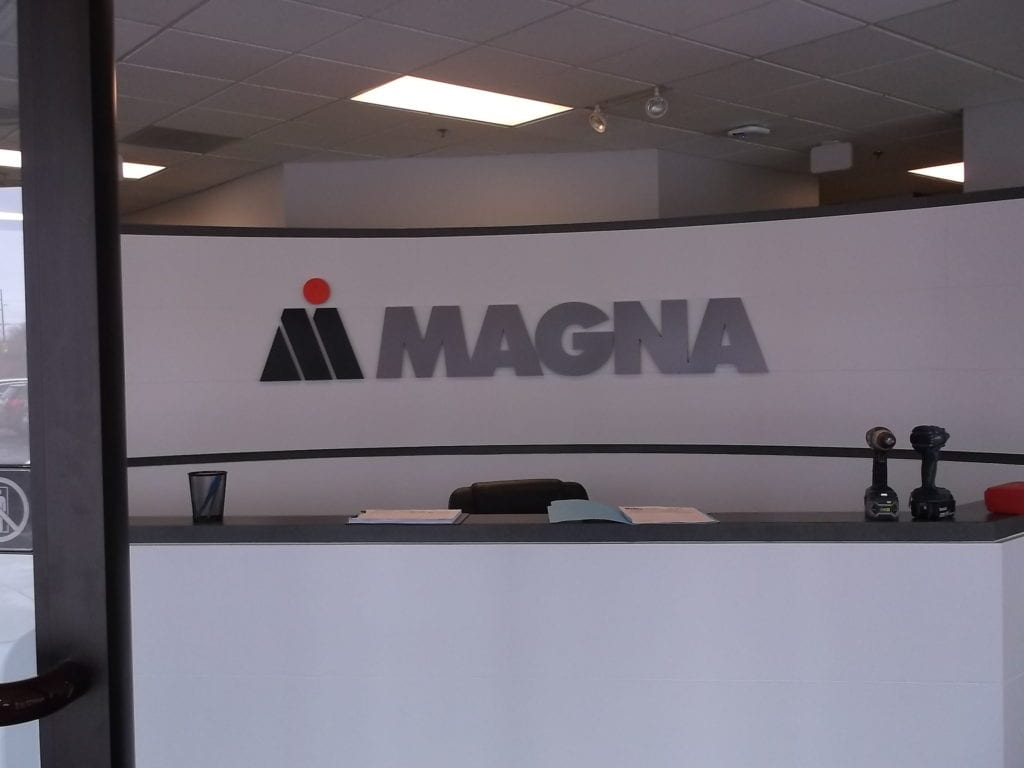Magna Interior Reception Fabricated Logo Sign