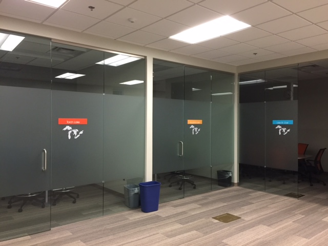 Lake Michigan CU, Suite Office Signs with etched frosted glassdoor vinyl