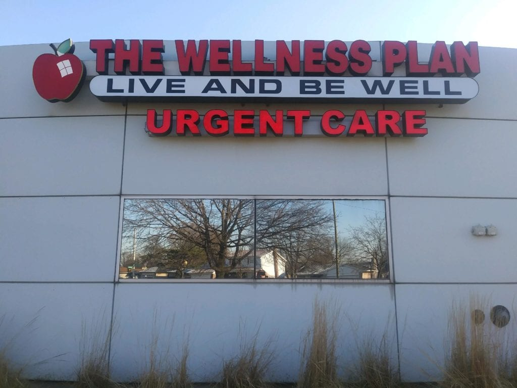 The Wellness Plan Urgent Care Channel Letters, Fabricated illuminating logo and capsule