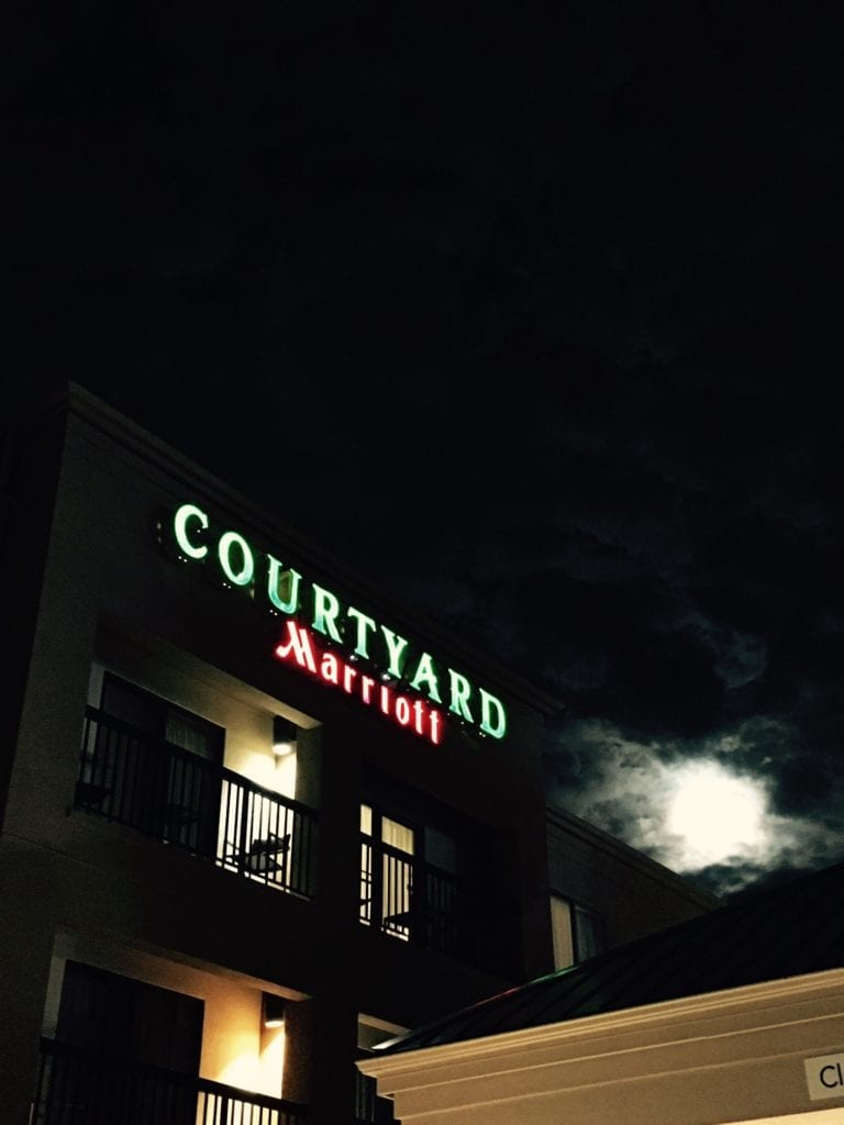 Courtyard Marriot LED illuminating Channel Letters