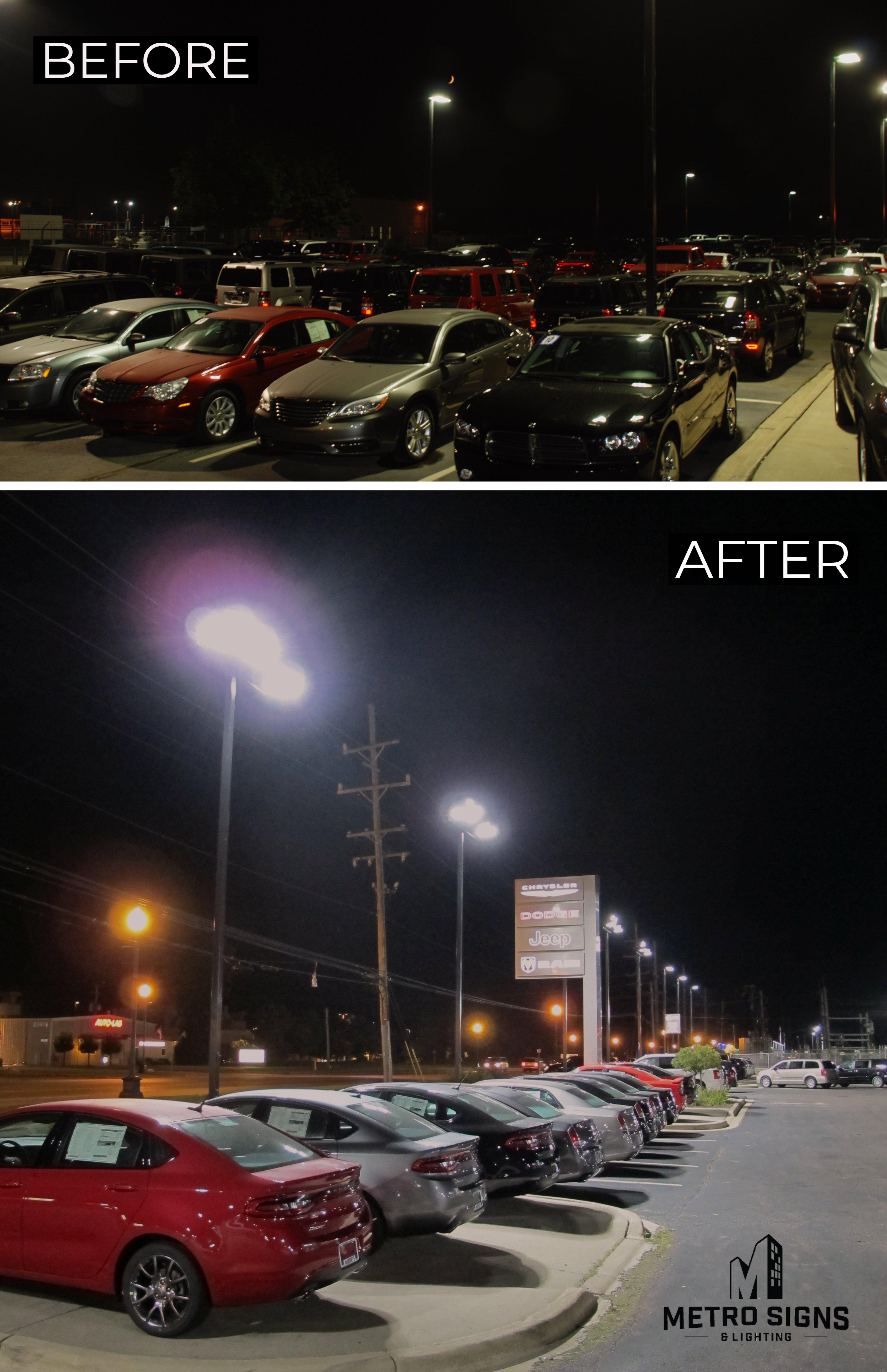 Lighting retrofit of a car lot for an auto dealership
