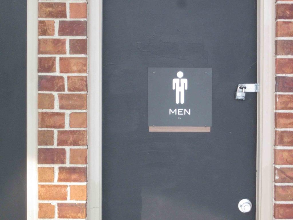 """Pool  Custom Restroom Signs """" MEN"""" with tie"""