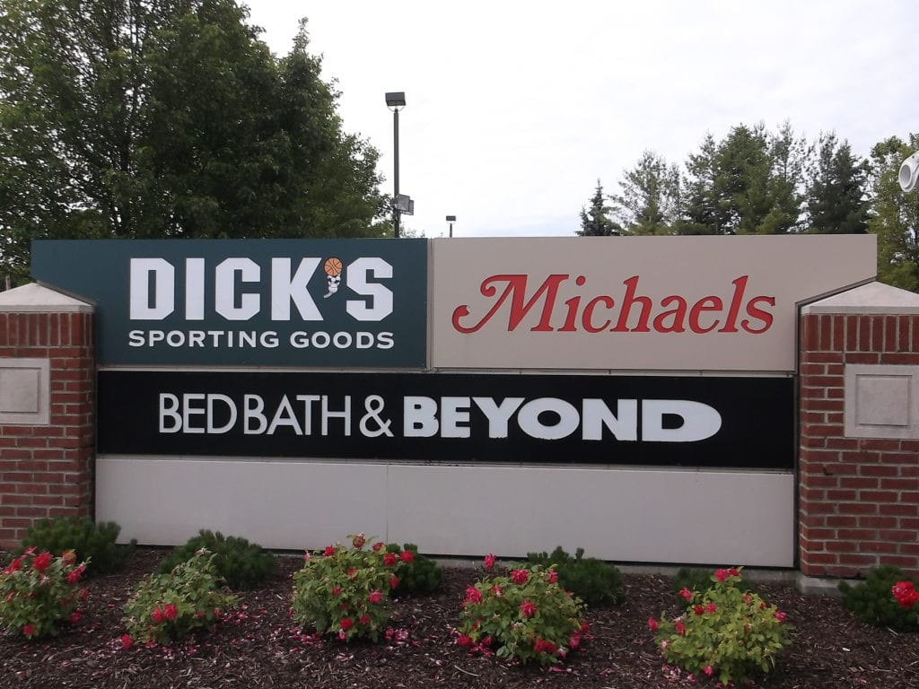 PLAZA SIGN WITH BRICK PILLARS, Michaels, Bed Bath & Beyond, Dick's Sporting Goods Faces