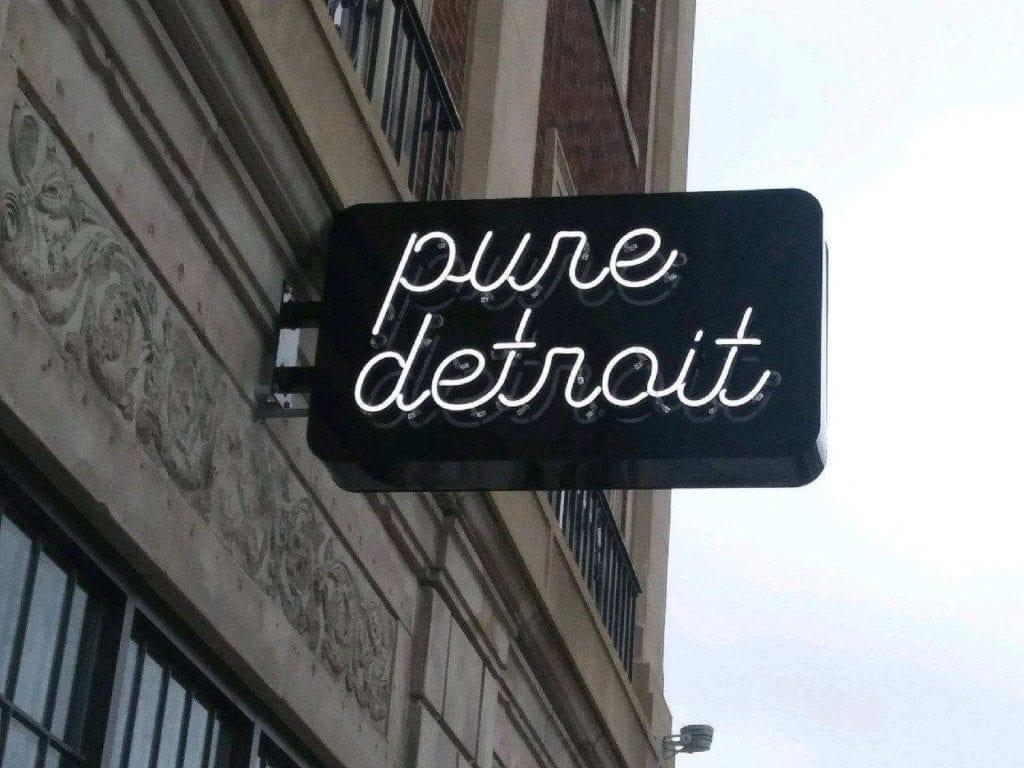 Pure Detroit custom neon lighting blade sign