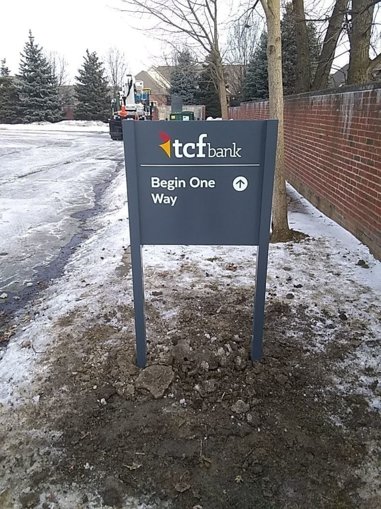 "TCF Bank Directional Signs ""Begin One Way"" with Arrow"