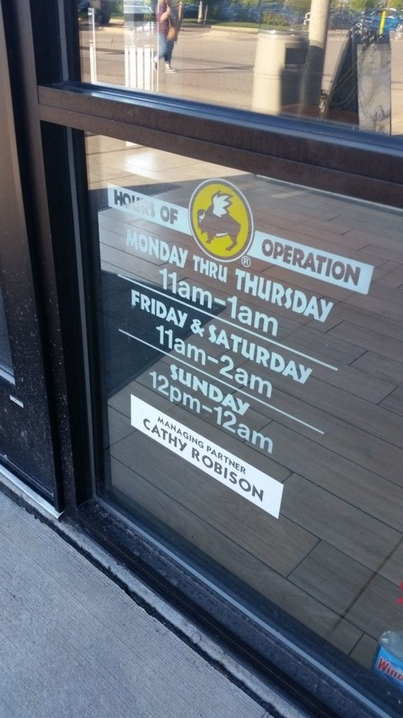 Buffalo Wild Wings Door Vinyl restaurant hours managing partner custom cut