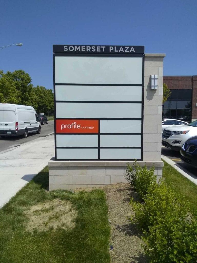 Somerset Plaza- Profile tenant panel plaza monument inserts