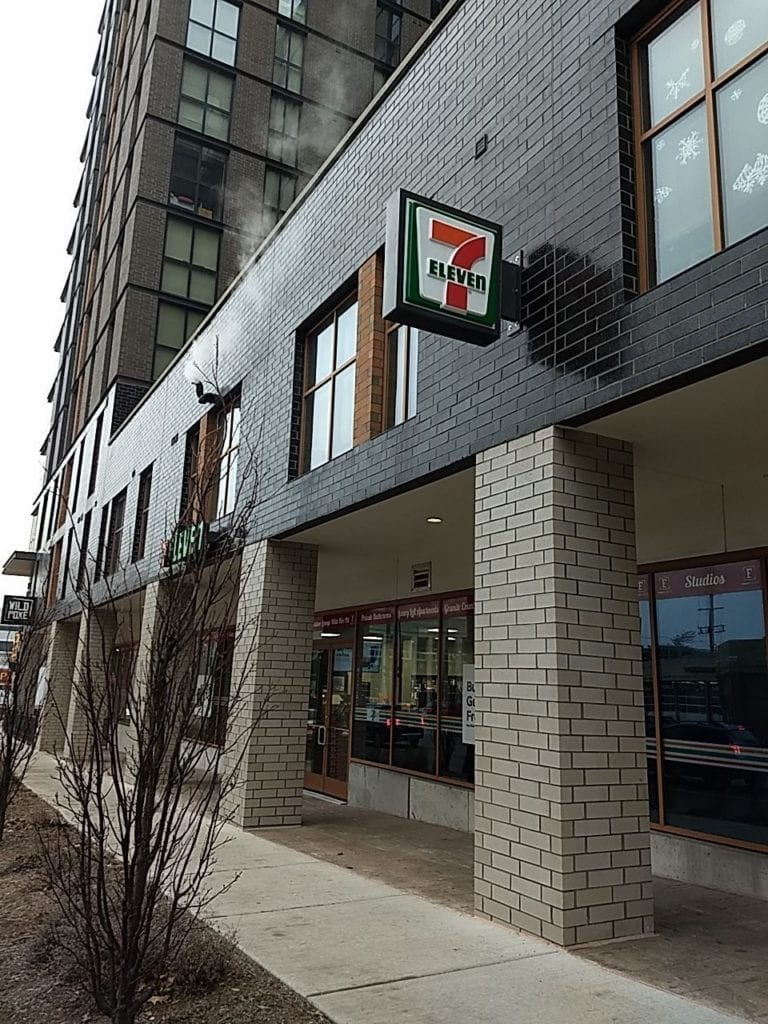 7-11 Blade sign downtown Detroit retail convenience store signage