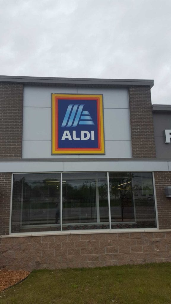 Aldi Box Sign face storefront signage