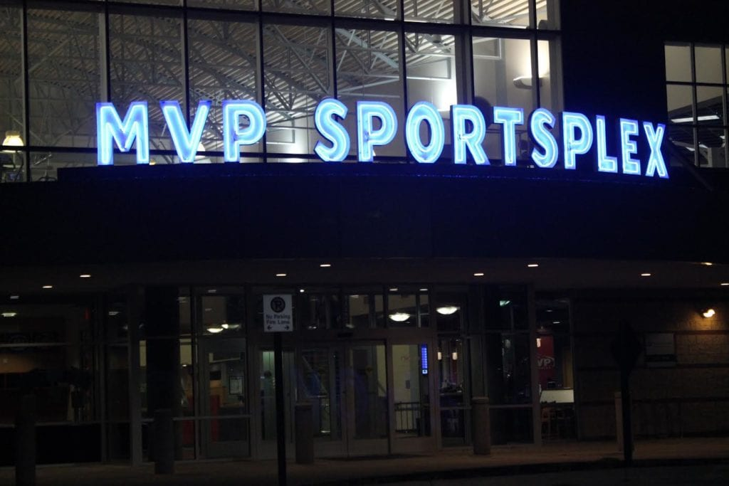 MVP Sportsplex Open Face Neon illuminating Canopy Channel Letters