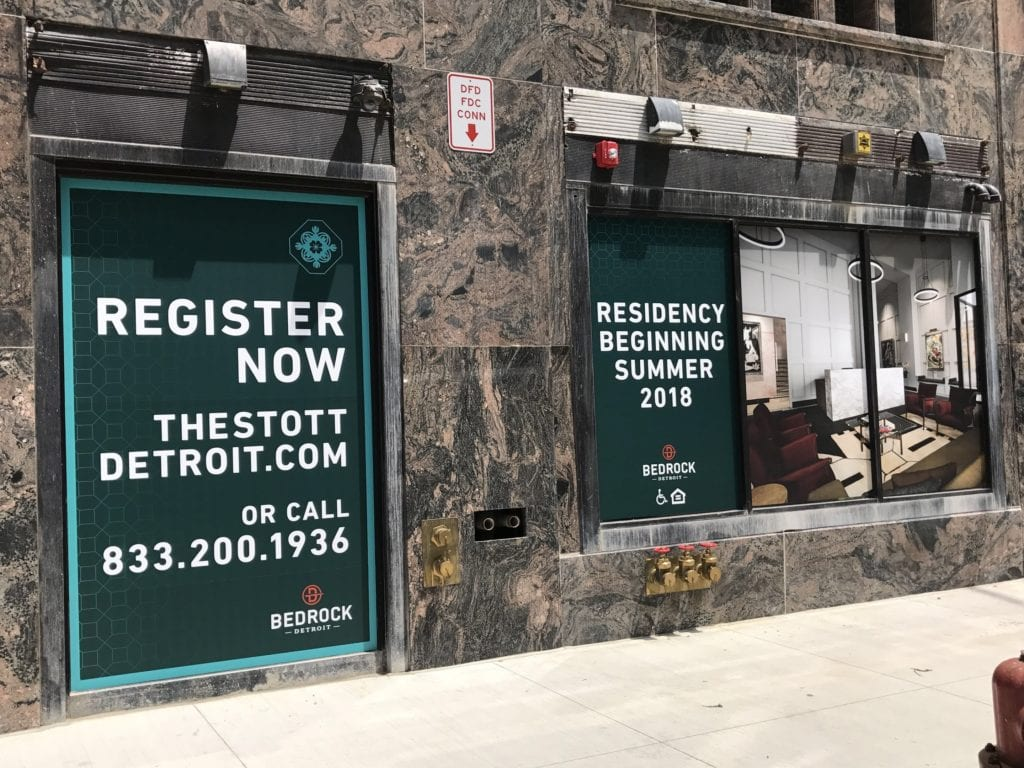 "Downtown Detroit Bedrock Temporary Vinyl "" Register now"""