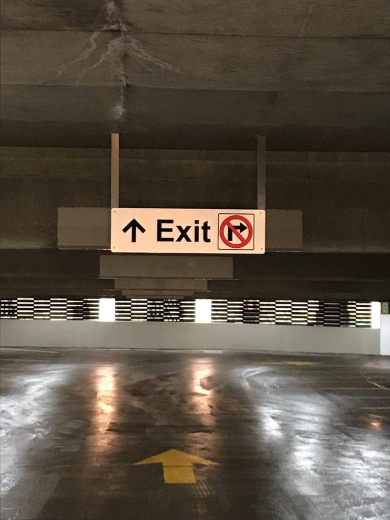 BUHL GARAGE Exit panel overhead parking garage