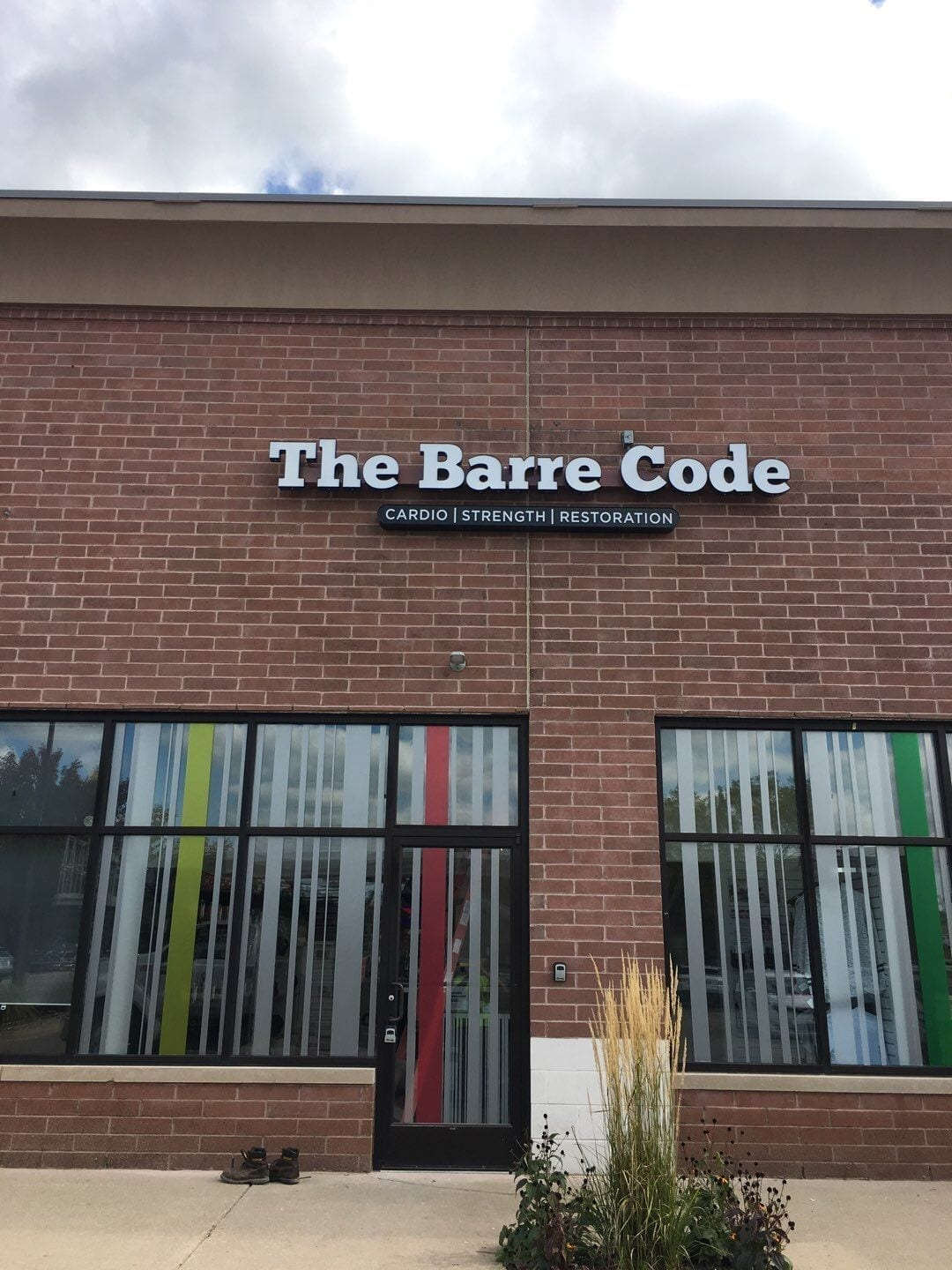 The Barre Code building mounted on bricks channel letter sign