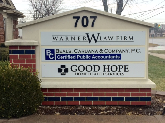 """707"" Building Monument Multi-tenant panels ""Warner W Law Firm"" ""Good Hope"""