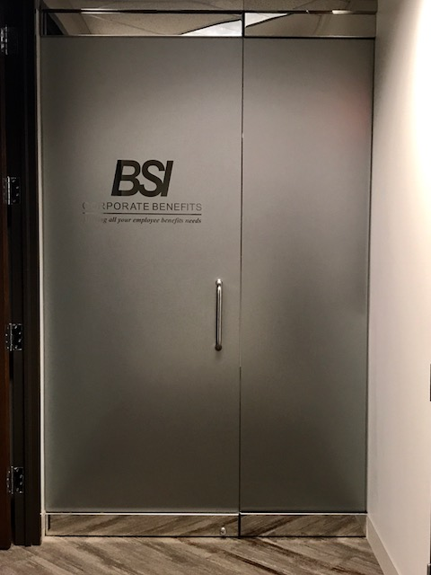 BSI Corporate Benefits Etched door vinyl