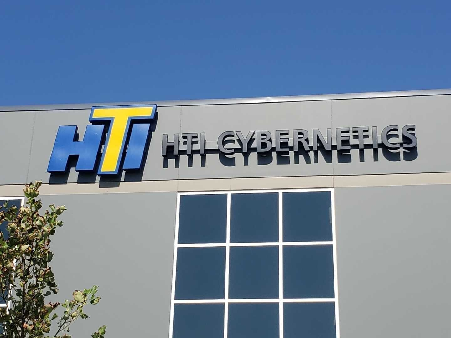 HTI Cybernetics building mounted channel letters