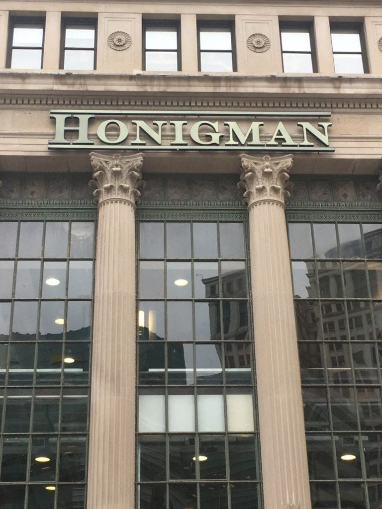 Hongiman Exterior Channel Letters Detroit Day Night illuminated with perforated vinyl pin-mounted