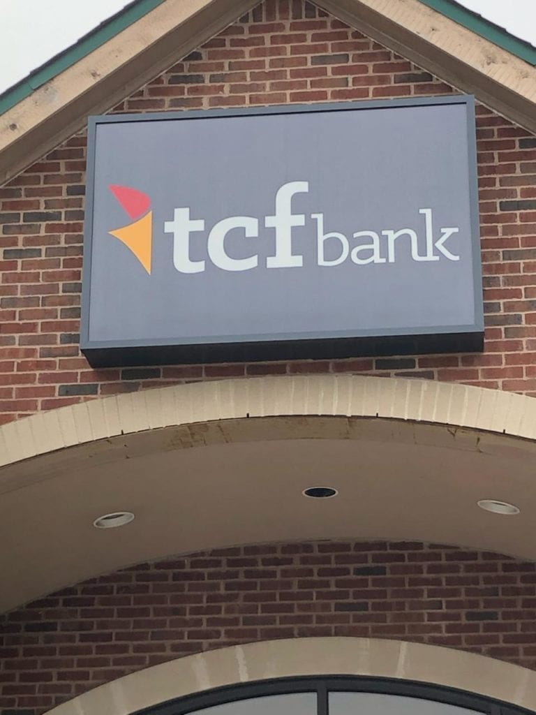 TCF Bank box sign cabinet exterior signage