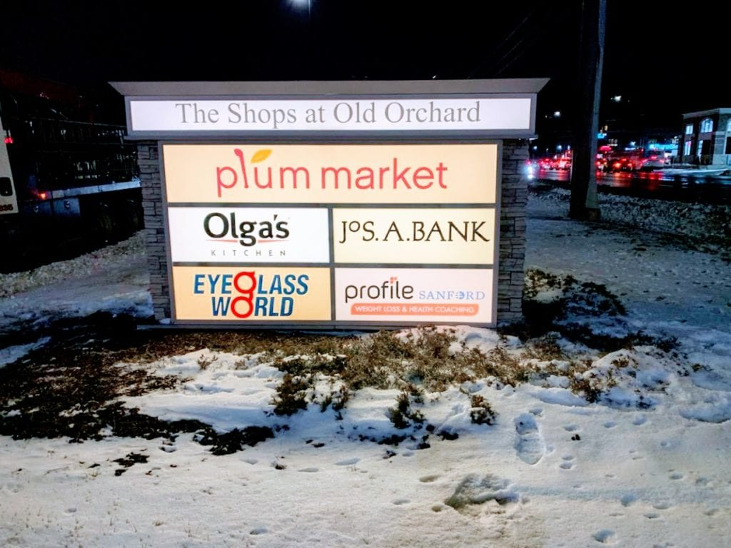 The Shops at Old Orchard Plaza Monument Illuminating Sign