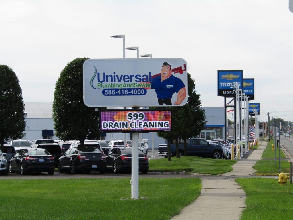 Universal Pluming and Sewer Pylon Sign EMC LED digital display face pole Detroit Roadside